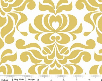 Valencia - Damask Mustard Yellow by Lila Tueller from Riley Blake
