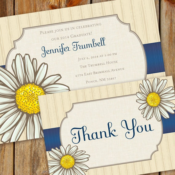 bridal shower invitations, birthday party invitations, thank you card, daisy and blue graduation, shasta daisy retirement invitations, IN335