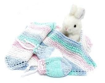 baby pullover bib set pastel rainbow blue pink green white bib set wash cloth & no scratch newborn mitts baby