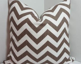 Drew Italian Brown & White Zig Zag Chevron Pillow Covers Throw Pillows Decorative