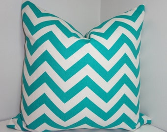 Turquoise Zig Zag Chevron Pillow Cover Decorative Throw Pillow Cover  18x18