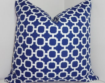OUTDOOR Pillow Cover Blue/White Geometric Design Pillow Cover Patio Deck Pillow 18x18