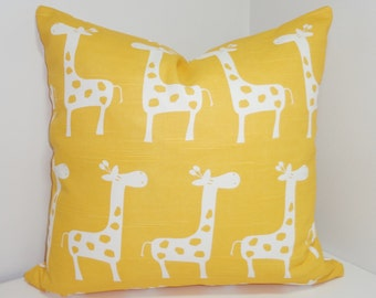 Decorative Pillow Yellow & White Giraffe Pillow Nursery Baby Pillow Covers All Sizes