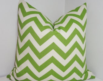 OUTDOOR Pillow Cover Green/Ivory Zig Zag Chevron Deck Patio Pillow Cover 18x18