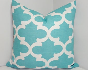 SALE Ocean Blue Moroccan Geometric Print Pillow Covers Decorative Throw Pillow Covers 16x16