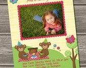 Teddy Bear Picnic Birthday Invitation (Digital File) - I Design, You Print