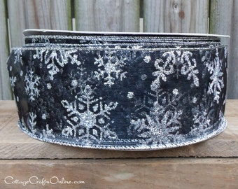 """Christmas Wired Ribbon, 2 1/2"""" wide,  Black Sheer Silver Glitter Snowflakes - THREE YARDS -  """"Midnight Snow"""" Craft Wire Edged Ribbon"""