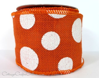 "Burlap Wired Ribbon, 4"" wide, Orange and White Polka Dot - TEN YARD ROLL  - Offray ""Dixie"" #100, Craft Wire Edged Ribbon"