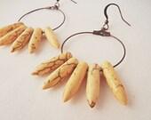 Yellow stone spike hoop earrings - yellow howlite earrings, copper hoops