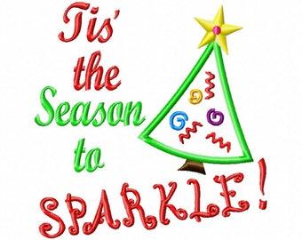 Tis the Season to SPARKLE - Tree Applique - 8 Sizes