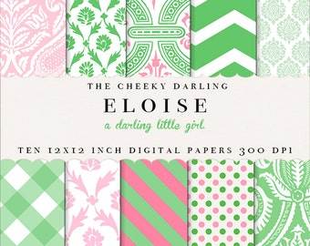 INSTANT DOWNLOAD - Eloise Digital Paper Pack - Pink & Green Girly Patterns