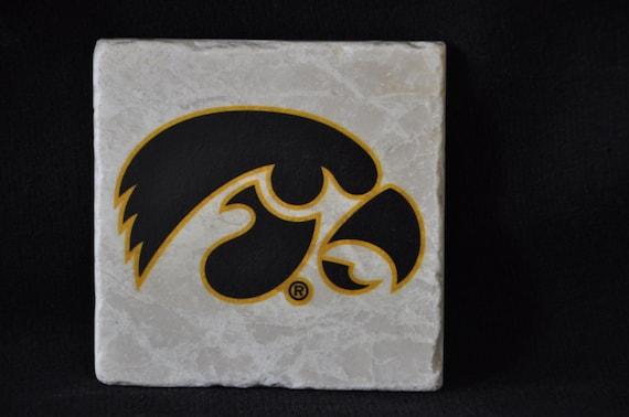 Iowa Hawkeye Head Coasters Set of 4 Handcrafted