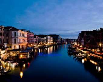 Midnight in Venice print, Fine Art Photography, Grand Canal at night, Canals of Venice, romantic Venice architecture, romantic getaway