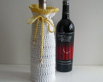 Wine Bottle Cover Crochet Gift Wrap- Christening Baptism with Glass Angel Charms