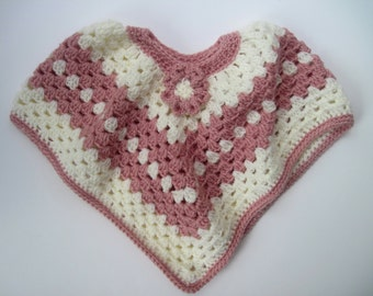 Baby Poncho Sweater - Crochet in Vanilla Off White and Peach with Flower Applique - 6 to 12 Months