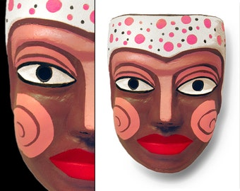 Italian Folk Art Face & Wall Mask • Signed By 'P. Grifo' • One Of A Kind • Whimsical • Hand Painted Paper Mache • Very Rare • Dated, 1956