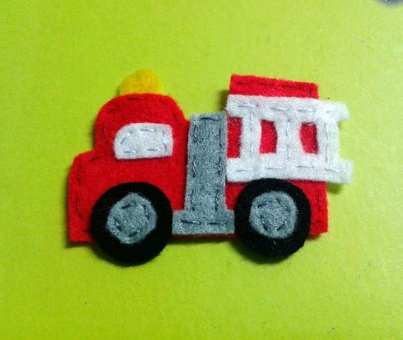 Items similar to Red Fire Truck Felt Applique 45 x 60 mm ...