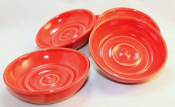 Soap Dish Cheery Red Soap Dish Ceramic Pottery Soap Dish Round Soap dish
