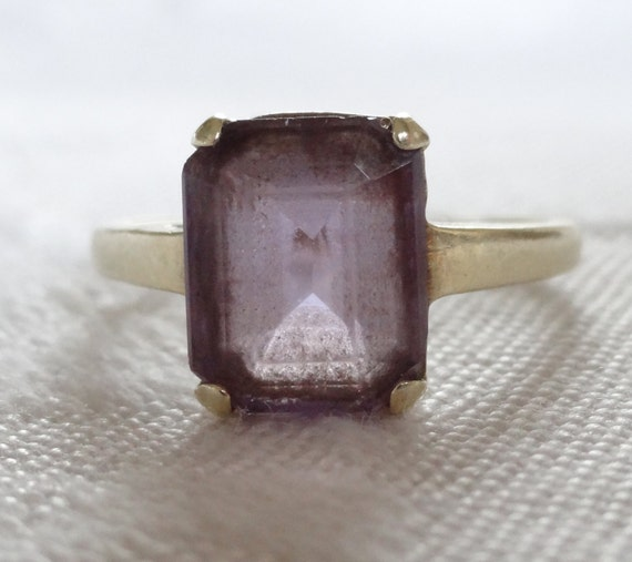 ring 14k gold with emerald cut amethyst by foolerytoo on etsy