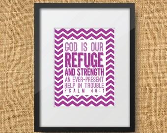 Refuge Scripture Printable Digital Art Print | Instant Download Bible Verse Psalm 46:1