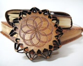 "Laser cut Flower Sun Spiral Pin, 2.5"", Handmade wooden jacket or bag pin, 1/8"" thick, latching pin back"
