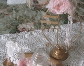 Jewelry holder with pink shabby decorated jars, tray, doily and pin fabric rose pearl crystal French seam binding dresser set romantic home