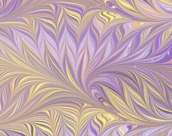 Hand Marbled Paper, 19x25in (48x64cm), purple bird wing pattern