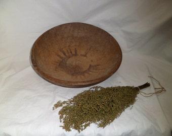 Antique Primitive turned Dough Bowl Treen Pyrography Sunburst