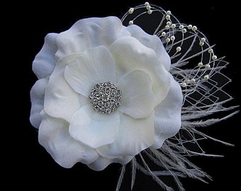 Lena - Bridal Ivory Flower Hair Clip Fascinator Clear Rhinestone-Ostrich feathers