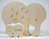 Wooden Puzzle Elephant with baby Gift for Toddlers and Children Personalized name