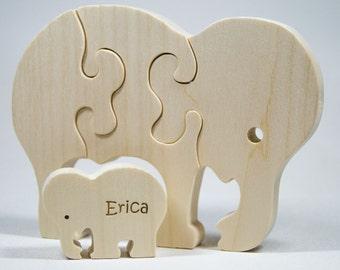 Wooden Animal Puzzle, Elephant Puzzle, Children's Puzzle, Personalized Wooden Puzzle, Children's Toy, Baby Shower Gift, Baptism Gift