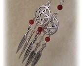 Spirit Guide  Pagan Pentagram Pentacle Native American Dreamcatcher Earrings Choice of Gemstones