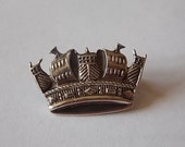 Vintage Silver Sweetheart Crown Pin Brooch LOVELY