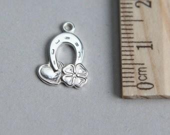 Horseshoe Clover Heart Charm, Silver Horseshoe Charm, 925 Sterling Silver Charm, Sterling Silver Lucky Horseshoe Charm, 15mm ( 1 piece )