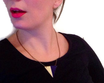 Blue color blocked triangle necklace, geometric necklace, leather triangle necklace