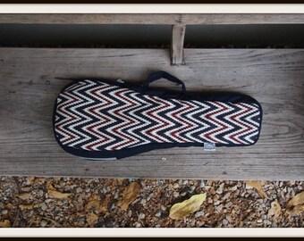 Soprano ukulele case - navy blue and red Ukelele Case with hidden pocket (Ready to ship)