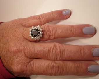 Diana inspired ring - Royal ring with a vintage look 3.24 carat cushion-cut black diamond 12matched pearls wedding anniversary gift ring