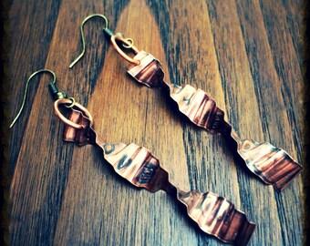 DNA Earrings, Science earrings, Hidden Message Earrings, I Love You Earrings, Hammered Metal Earrings, Geeky Earrings, Double Helix Earrings