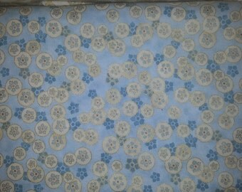 Grandeur Beautiful Metallic print with small cream design light blue background by Peggy Toole for Robert Kaufman 1 yard cotton quilt fabric