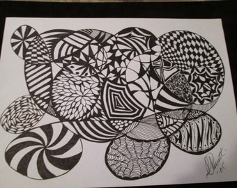 Abstract Scribble art picture is drawn with black felt tip or fine tip pens. Scribble art is suitable for framing.