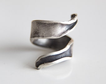 Wrap Ring-Sterling Silver Wide Wrap Ring-Index Finger Folded Unique Oxidised Wraparound Ring