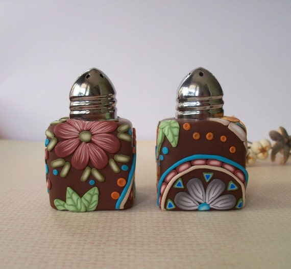Salt And Pepper Shakers Decorative Polymer Clay Mosaics 1