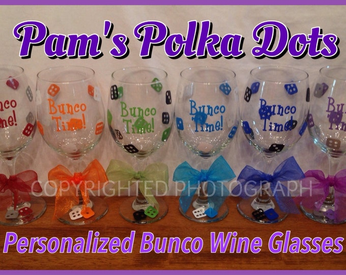 12 Personalized Large 20 oz. BUNCO WINE GLASSES with Dice, Name, Word or Initial Bunco Prize for Bunco Players