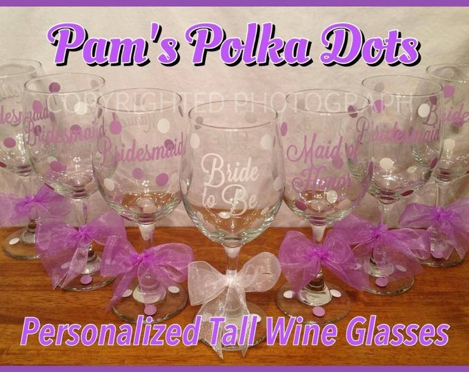 Personalized BRIDAL PARTY Wine GLASS for Bride Bridesmaids Mother of Bride or Groom Bridal Wedding Party Bachelorette Future Bride To Be