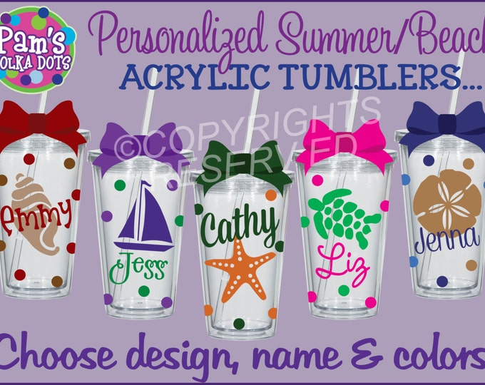 9 Personalized SUMMER BEACH Themed Clear Acrylic TUMBLERS w/ Name Seahorse Anchor Nautical Palm Tree Seashell Sand Dollar Sailboat Mermaid