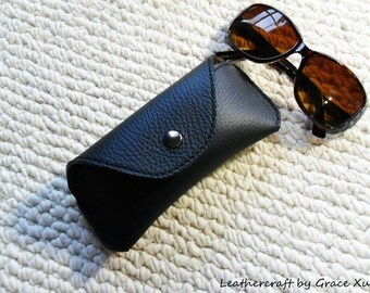 100% hand stitched handmade black cowhide leather eyeglasses / sunglasses case