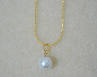 White Pearl Drop Necklace - Gold, Simple Pearl Necklace