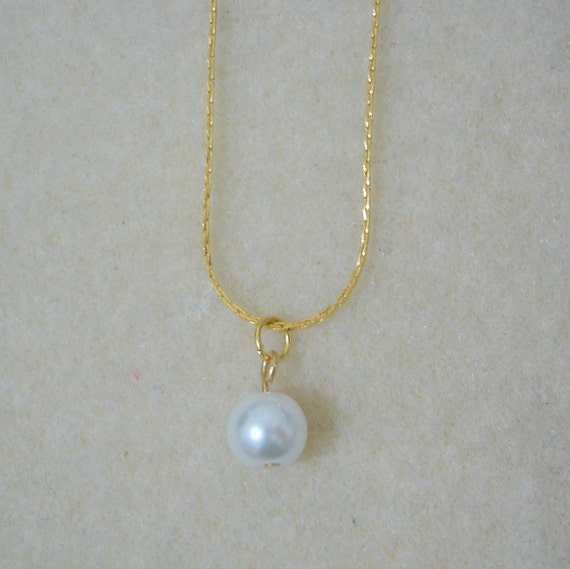 White Pearl Drop Necklace Gold Simple Pearl Necklace
