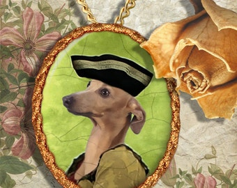 Italian Greyhound Jewelry Pendant - Brooch Handcrafted Porcelain Dog Jewellery by Nobility Dogs