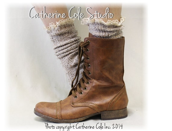 Lace boot socks,MISS TORI in Oatmeal,short boot socks, combat boot socks, cowboy boot socks, country wedding, Catherine Cole | SLX204L